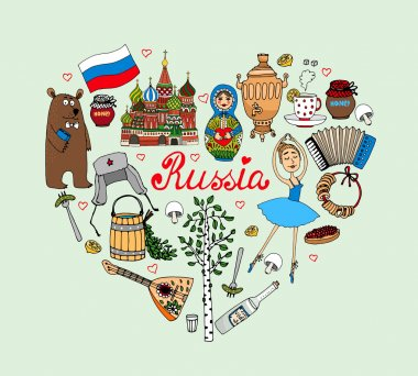 I Love Russia vector heart