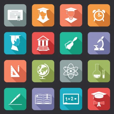 Set of flat school and education icons
