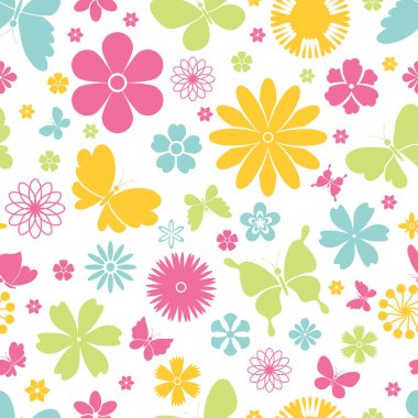 Spring butterflies and flowers seamless pattern
