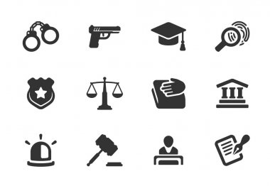 Set of justice and police icons