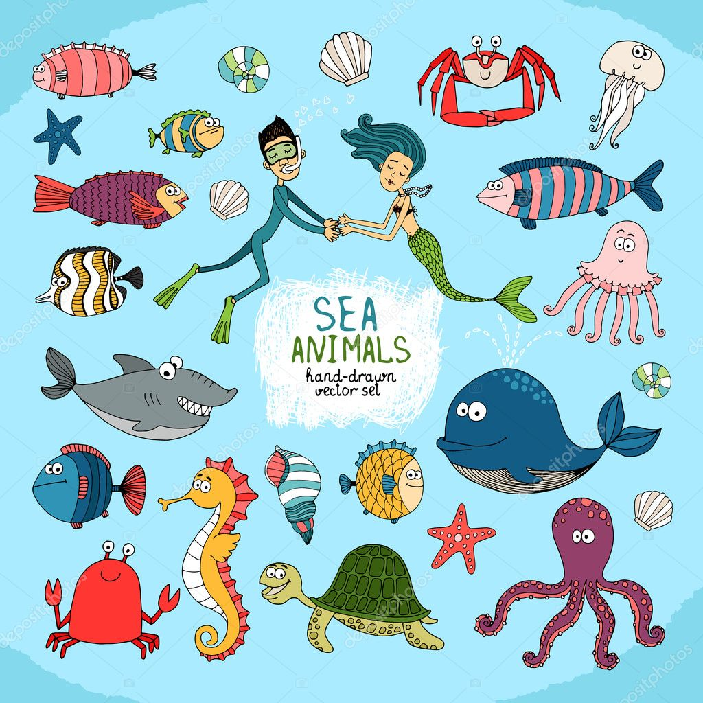 Set of hand-drawn cartoon sea life