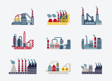 Industrial buildings icons