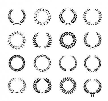 Set of black and white silhouette circular laurel foliate and wheat wreaths depicting an award achievement heraldry nobility and the classics vector illustration stock vector