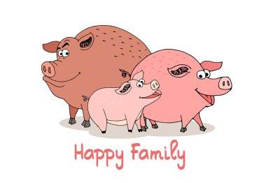 Happy Family of fun cartoon pigs