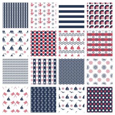 nautical or marine seamless patterns