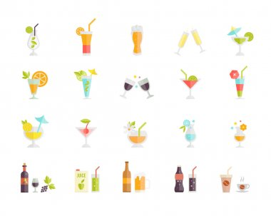 vector icons of cocktails and drinks