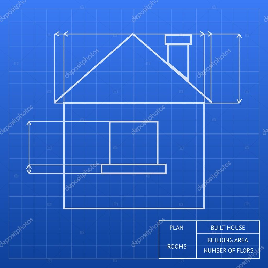 Blueprint of a house design stock vector mssa 47363911 architectural blueprint of a house design showing an exterior elevation with window and roof heights and measurements vector inforgraphic template vector malvernweather Gallery