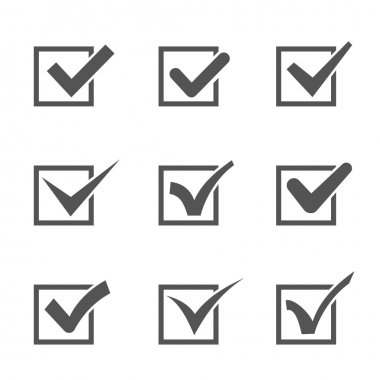 Set of different check marks in boxes