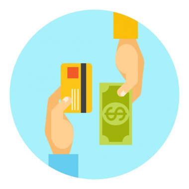 Hands exchanging payment or money in business