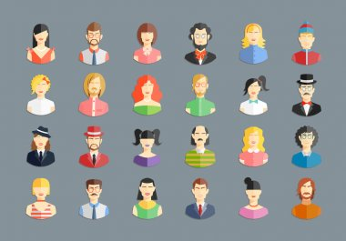 Vector large set of avatars. Men and women, young people and girls icons stock vector