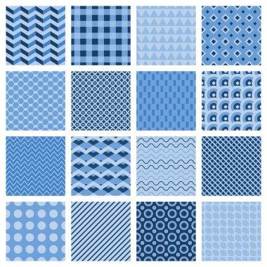 Set of seamless geometric patterns in blue