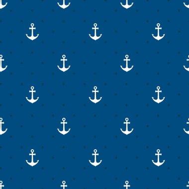 Vector blue anchors seamless pattern