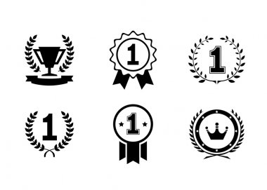 Set of vector winner emblems and leader icons