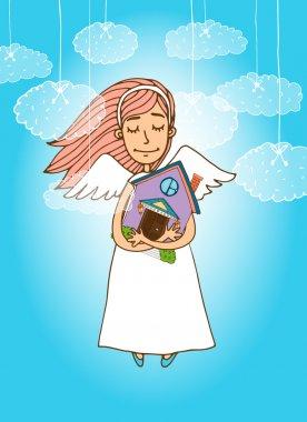 Cute angel holding a house