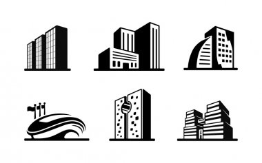 Set of black and white vector building icons showing the exteriors of six modern buildings with a sports stadium high-rise apartment and office blocks and skyscrapers stock vector