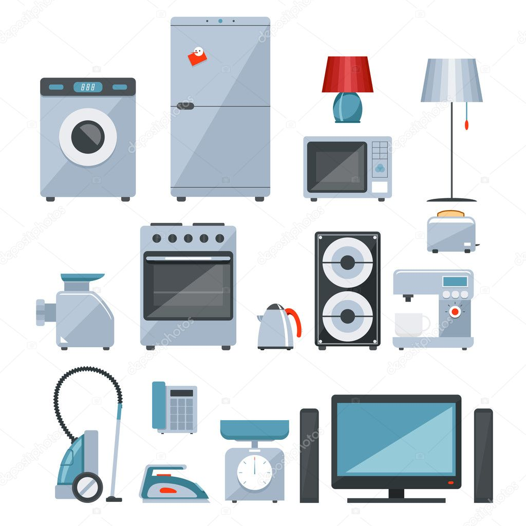 Iconos de colores de los aparatos electrodom sticos - Electrodomesticos de colores ...