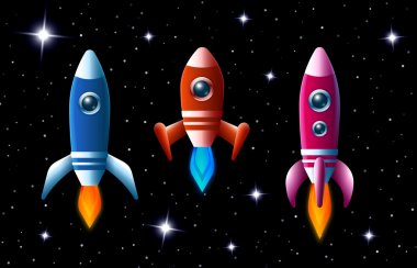 Three brightly colored rockets in outer space