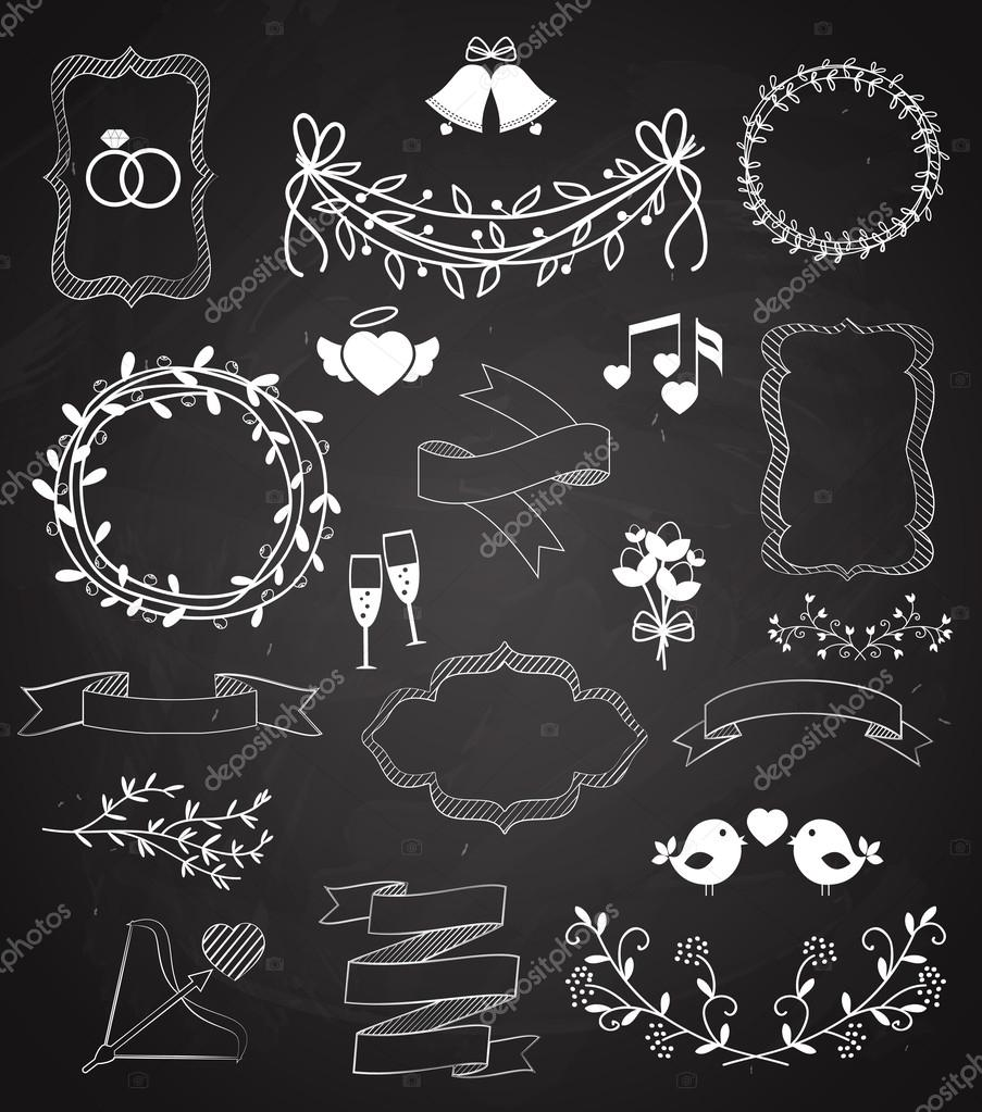 Wedding Chalkboard Banners And Ribbons Set With Arrow Hearts Frames Wreaths Swags Bells Birds Chagne Floral Border Banner Ribbon Rings Vector Outline: Drawn Chalkboard Wedding Ring At Reisefeber.org
