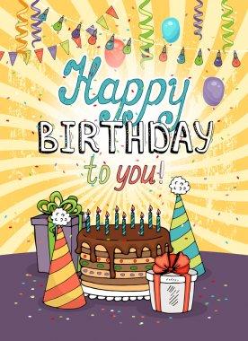 Happy Birthday greeting card or invitation