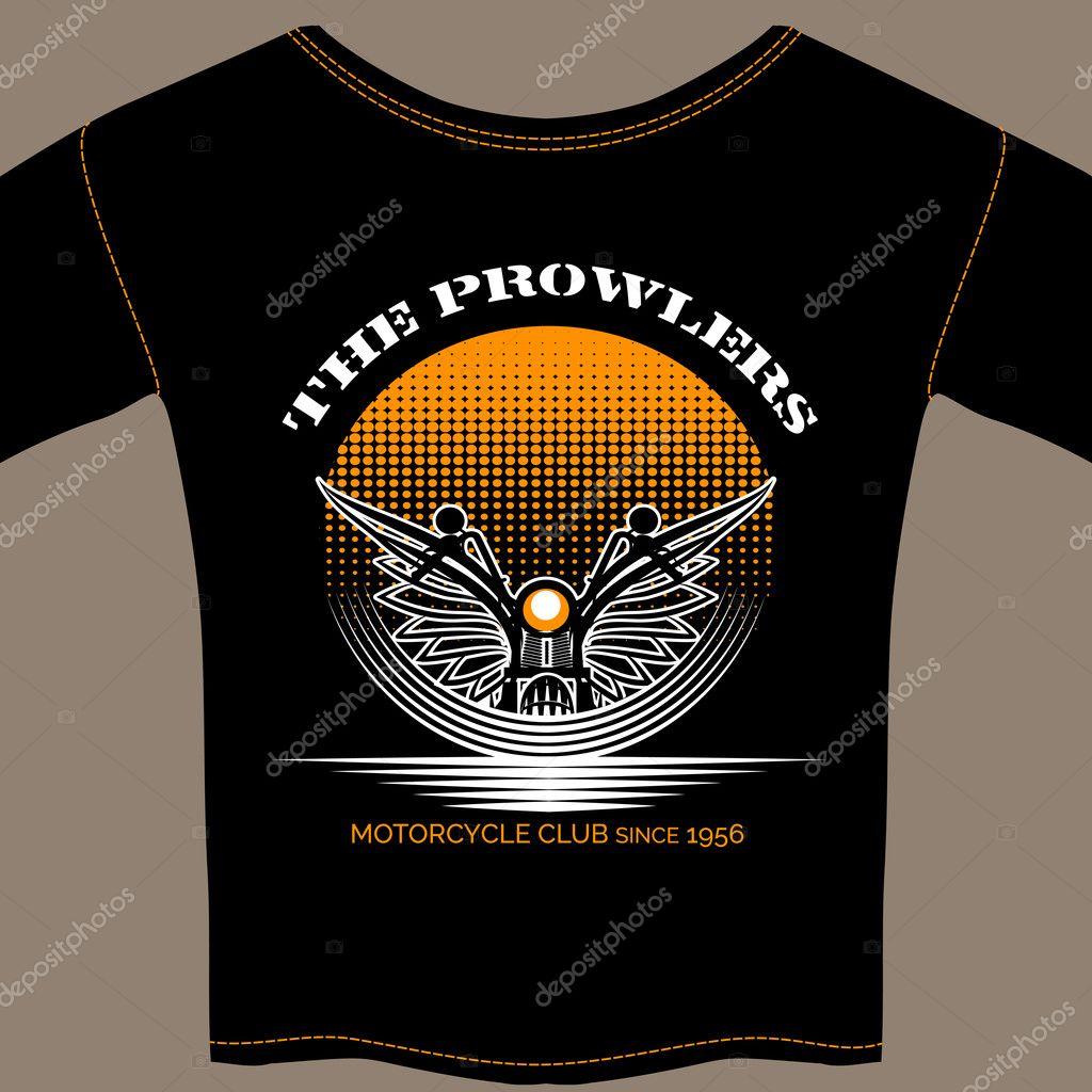 T-shirt Vorlage für Motorrad-Club-Mitglied — Stockvektor © MSSA ...