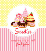 Photo Greeting card template with sweets and candy