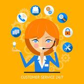Fényképek ügyfél szolgáltatás ikon-ból egy call center girl