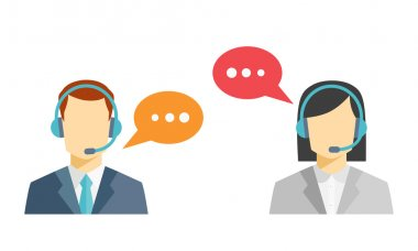 Male and female call center avatar icons with a faceless man and woman wearing headsets with colorful speech bubbles conceptual of client services and communication stock vector