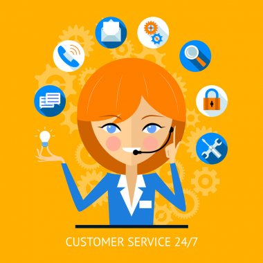 Customer service icon of a call center girl