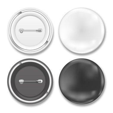 black and white badges