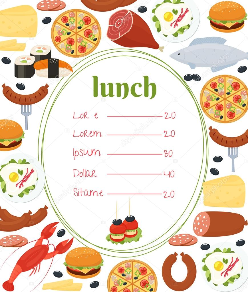 lunch menu template stock vector mssa 50777959