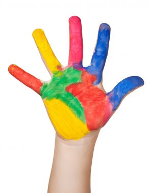 Painted colorful hand. isolated