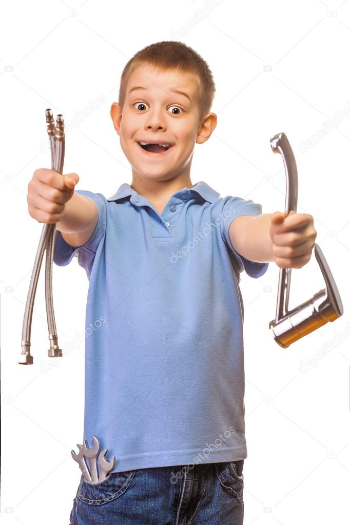 Funny boy plumber with faucet on a white