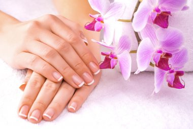 Beautiful manicure with pink orchid on the white