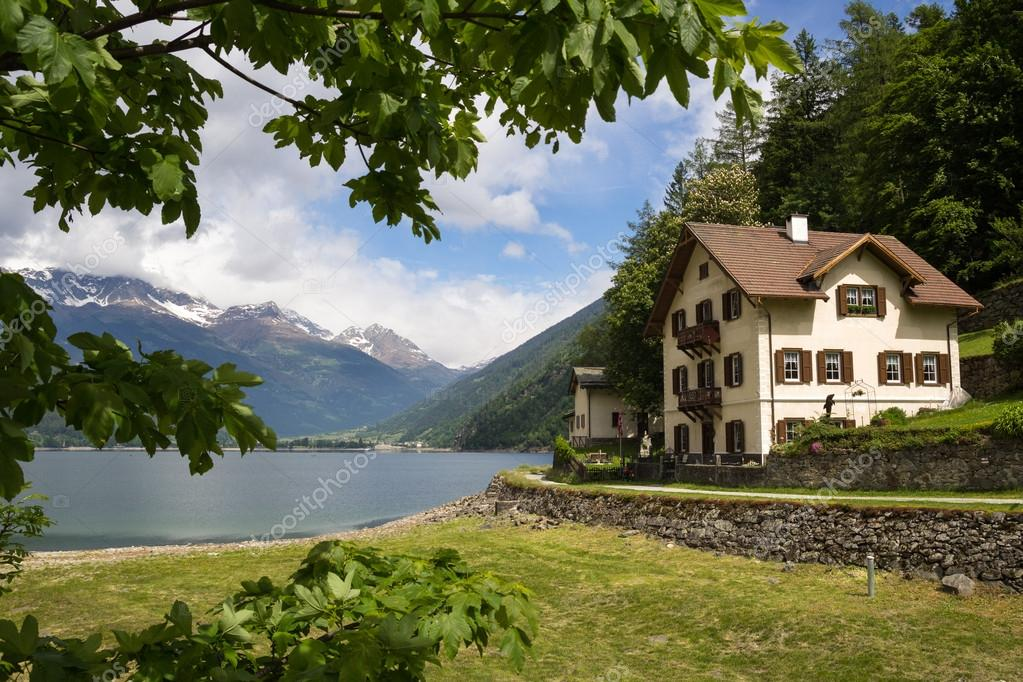 Villa near the lake in Swiss Alps