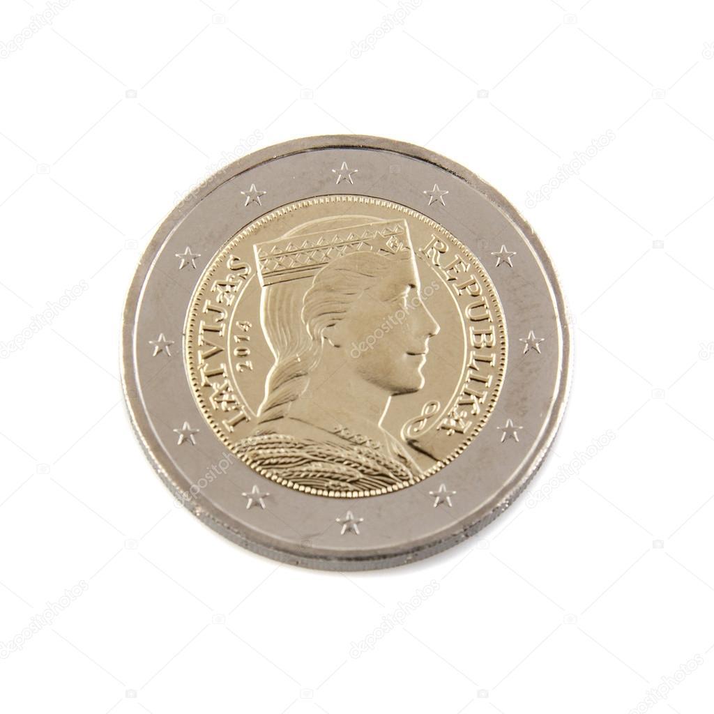 新鮮なラトビアのユーロ硬貨 — ...