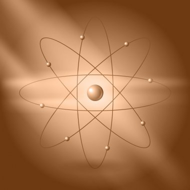 Orbital model of atom on brown background