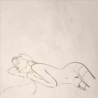 Hand-drawn nude woman on old textured paper