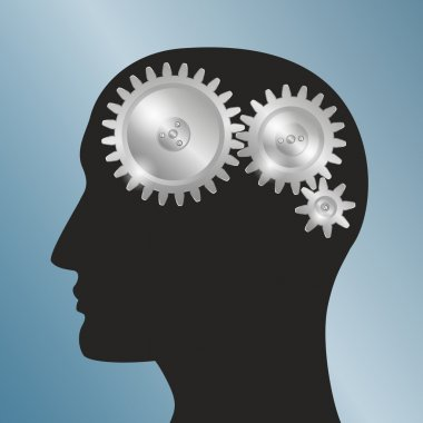 Concept background with schematic representation of the human head with gears