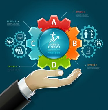 Business concept. businessman hand with business strategy diagram options in Gears symbol.