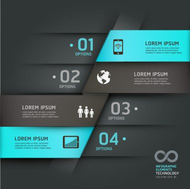 Abstract infographics communication technology origami style options banner.