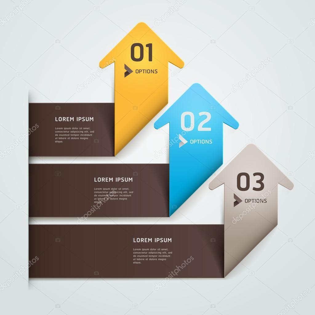 moderne Pfeilart Origami Schritt Anzahl Optionen Banner Template ...