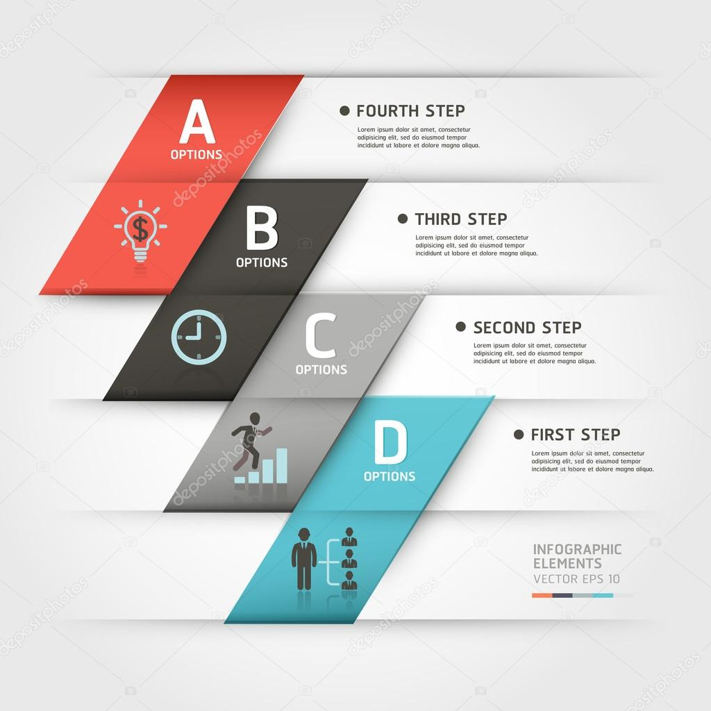 Modern business steb origami style options banner. Vector illustration