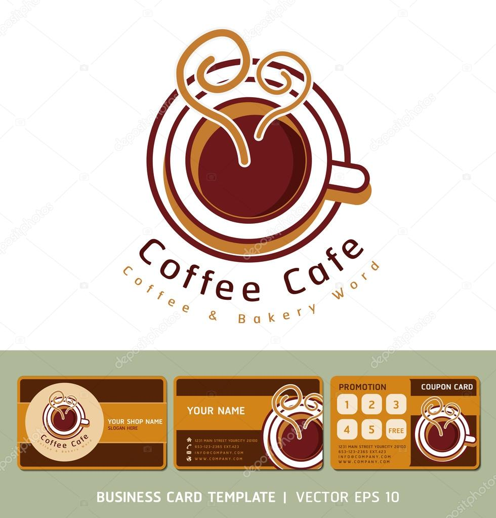 Logo Dicne Caf Coffee Et Cartes De Visite Illustration Vectorielle Image