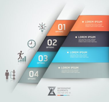 Modern business steb origami style options banner. Vector illust