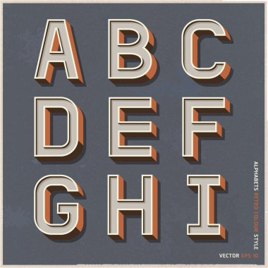Alphabet retro colour style. Vector illustration.