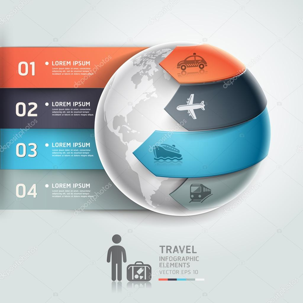 Abstract globe infographics travel transportation element template.