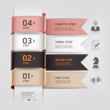 Abstract business infographics template ribbon style.