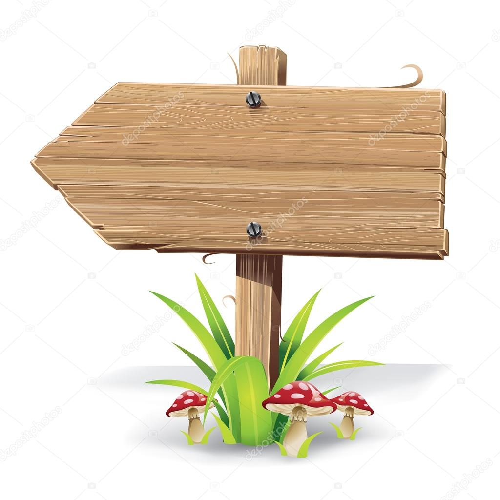 Wooden sign on a grass with mushrooms.