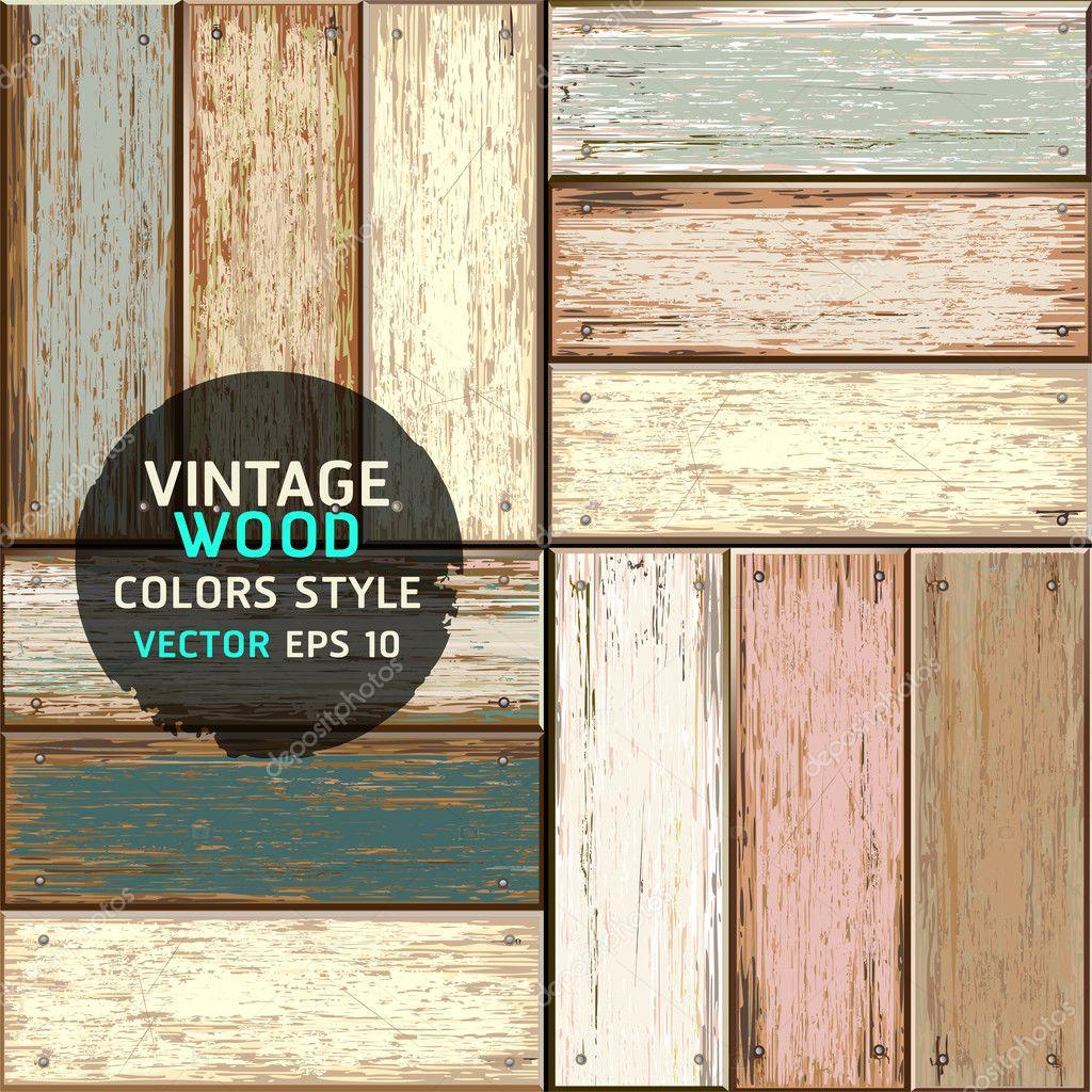 Wooden vintage color texture background. vector illustration.