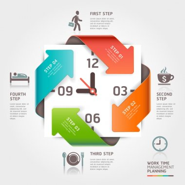Abstract arrow work time management planning infographics template